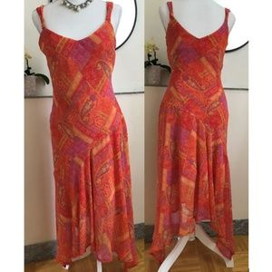 Dresses & Skirts - Romantic Asymmetric Silk Slip Maxi Dress